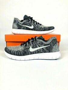 87a07dd752d Nike Free RN Run Flyknit 2017 Mens White Black Oreo Running 880843 ...