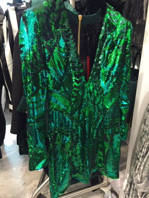 Hm x Balmain Sequin Dress Green Us Size 8