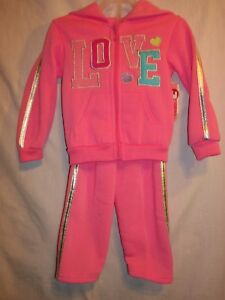 LOVE-amp-Hearts-2-pc-Pink-Zipper-Hoodie-Top-amp-Pants-Size-3T-New-w-TAGS