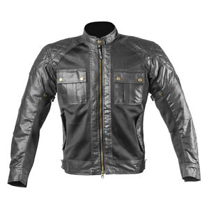 Men-Wax-Cotton-Black-Summer-amp-Winter-Motorcycle-Textile-CE-Jacket-Sara-Moto