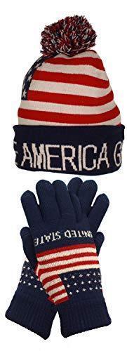 Trump Beanie Ski Cap Hat Make America Great Again Stars Stripes USA Flag