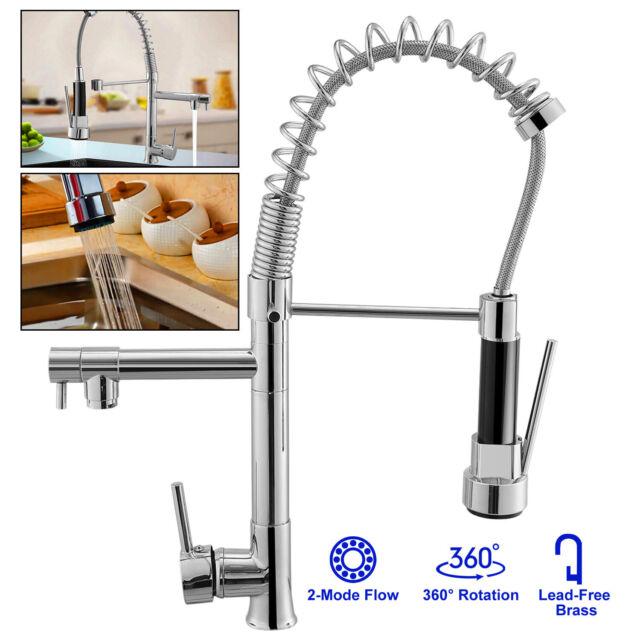 U.S 3 Color LED Kitchen Pull Down/&Swivel Spout Sink Faucet Mixer Tap Chrome