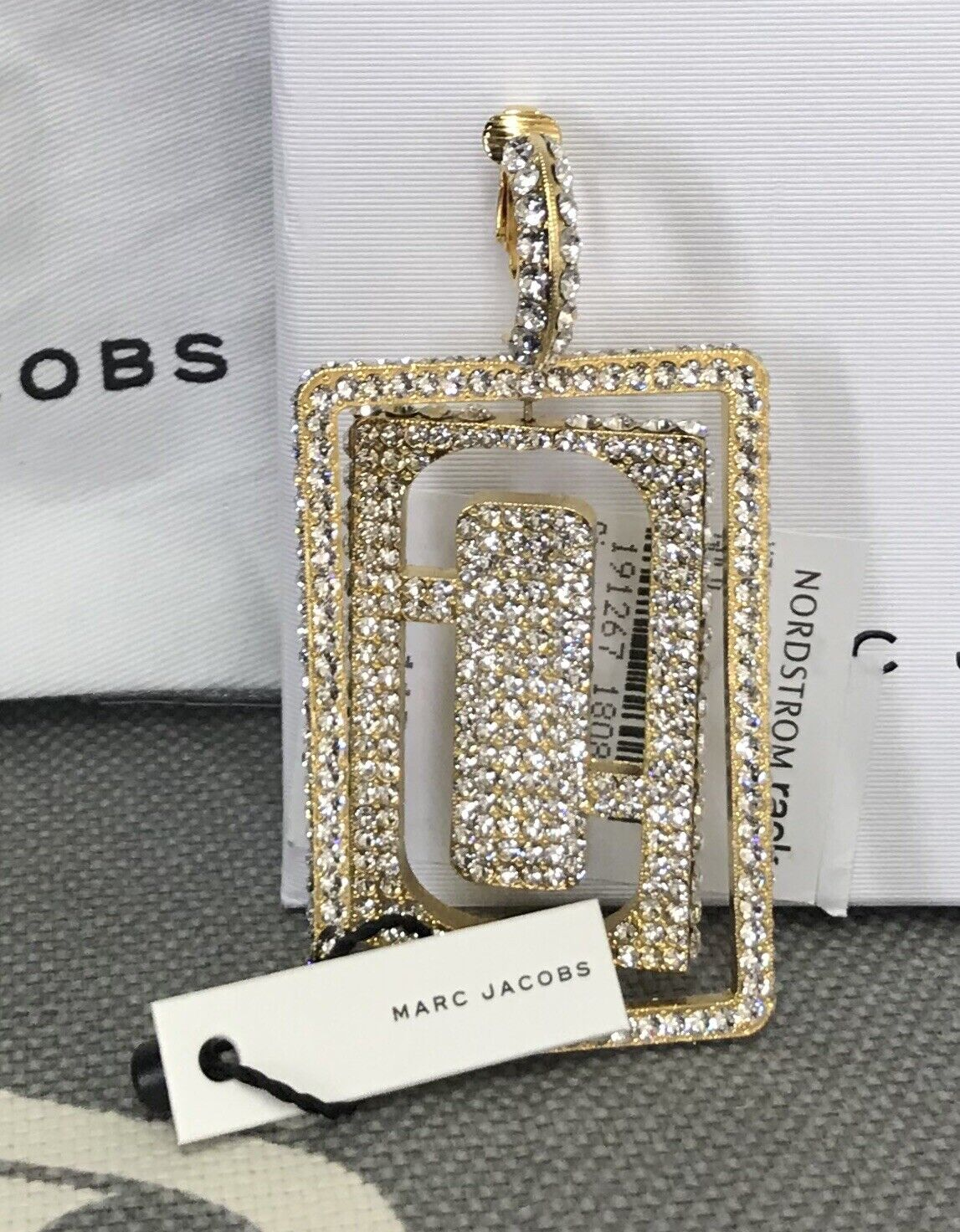 Marc Jacobs Pave Double J Single Clip On Earring MSRP 175