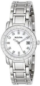 Bulova-Women-039-s-96R105-Quartz-Diamond-Accents-Silver-Tone-26mm-Watch