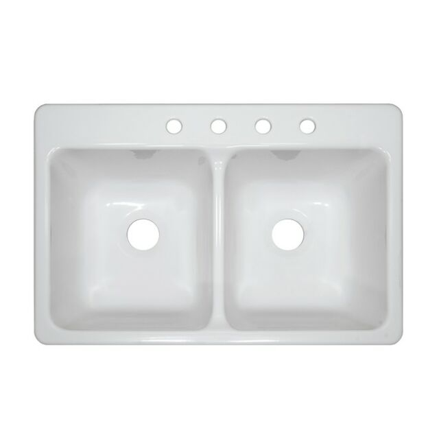 Mobile Home Parts 33 X 19 9 Deep Double Bowl White Acrylic Kitchen Sink