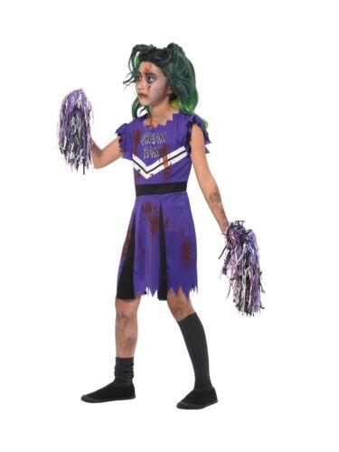 Filles Foncé Pom-Pom Girl Costume Zombie School Girl Halloween Fancy Dress Outfit