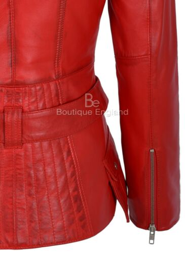 Moda Donna Giacca in Pelle Stile Biker Rosso 100/% Vera Pelle 2812