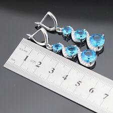Swiss Blue & White Topaz Gemstone 925 Silver Earrings + gift box