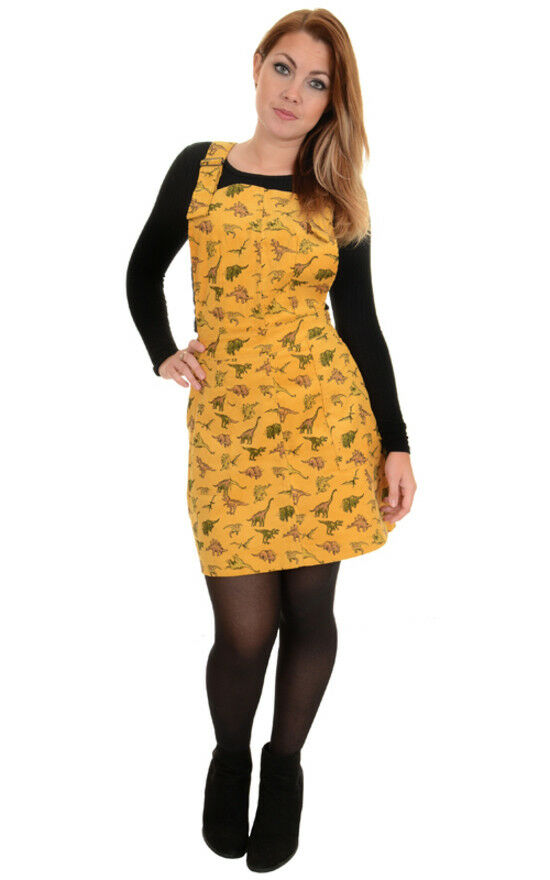 Run And Fly Dinosaur Gelb Mustard Retro Cord Cord Cord Pinafore Dress New Tags 8-16   Trendy    Sehr gute Qualität  546e37