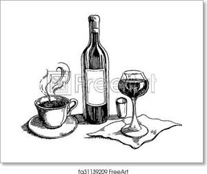 Wine And Coffee On Art Print / Canvas Print. Poster, Wall Art, Home Decor - D