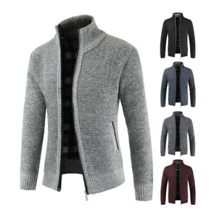 Mens-Soft-Woollen-Knit-Zip-Up-Funnel-Neck-Jacket-Cardigan-Jumper-Sweater-Top