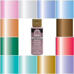 Details About Folk Art Shimmering Metallic Acrylic Paint 2 Oz Bottle Metallic Paint All Colors