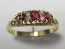 Edwardian 18ct Gold Ruby 3 Stone & Old Cut Diamond Ring Hallmarked Size O