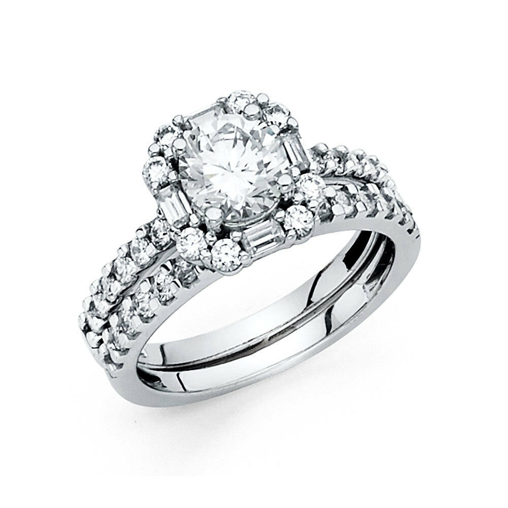 14k Solid White gold 2.75 CT Diamond Halo Bridal Engagement Ring Set Baguette