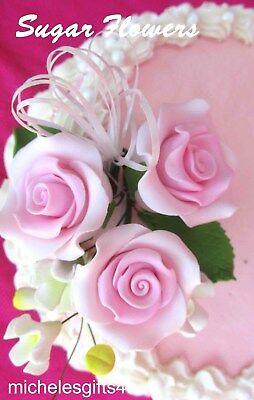 Gum Paste Sugar Pastel Pink Roses Leaves /& Ribbon Cake Flowers