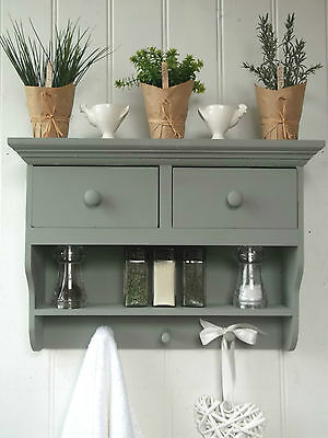 Shabby Chic Wall Unit Shelf Storage Cupboard Cabinet Hooks Pegs Kitchen Bathroom