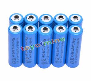 10x-AA-3000mAh-pile-1-2-V-Ni-MH-rechargeable-Bleu-Couleur-cellule-MP3-Jouets-RC