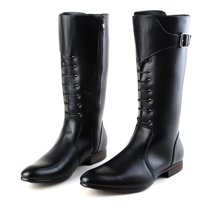 Lo último Para hombres Moda Correa Hebilla británico botas Altas De Cuero Sintético botas Knight
