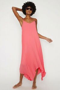 WAREHOUSE-Womens-New-Pleated-Maxi-Midi-Dress-in-Coral-Sizes-6-to-16