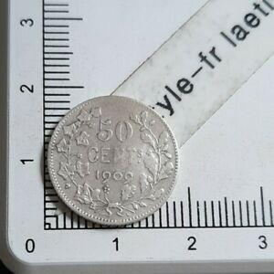 I08410-50-cent-de-franc-belge-1909-piece-de-monnaie-argent-leopold-II-royale