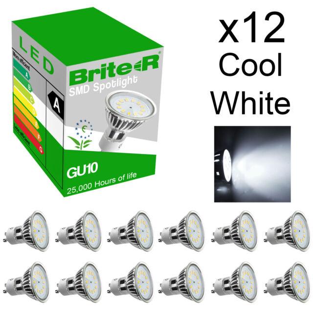 Pack of 12 5W SMD LED GU10 Spotlight Light Bulbs Lamp Cool White Daylight 6500K