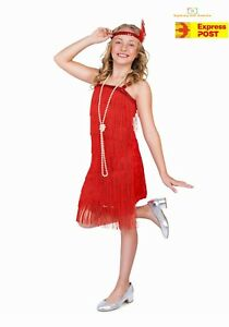39785697e46e9 Image is loading Girls-Red-Flapper-Costume-Childs-1920s-Charleston-Fancy-