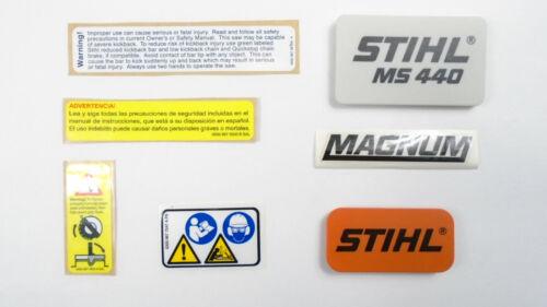 STIHL MS440 MAGNUM CHAINSAW MODEL PLATE NAME TAG EMBLEM BADGE DECAL STICKER SET
