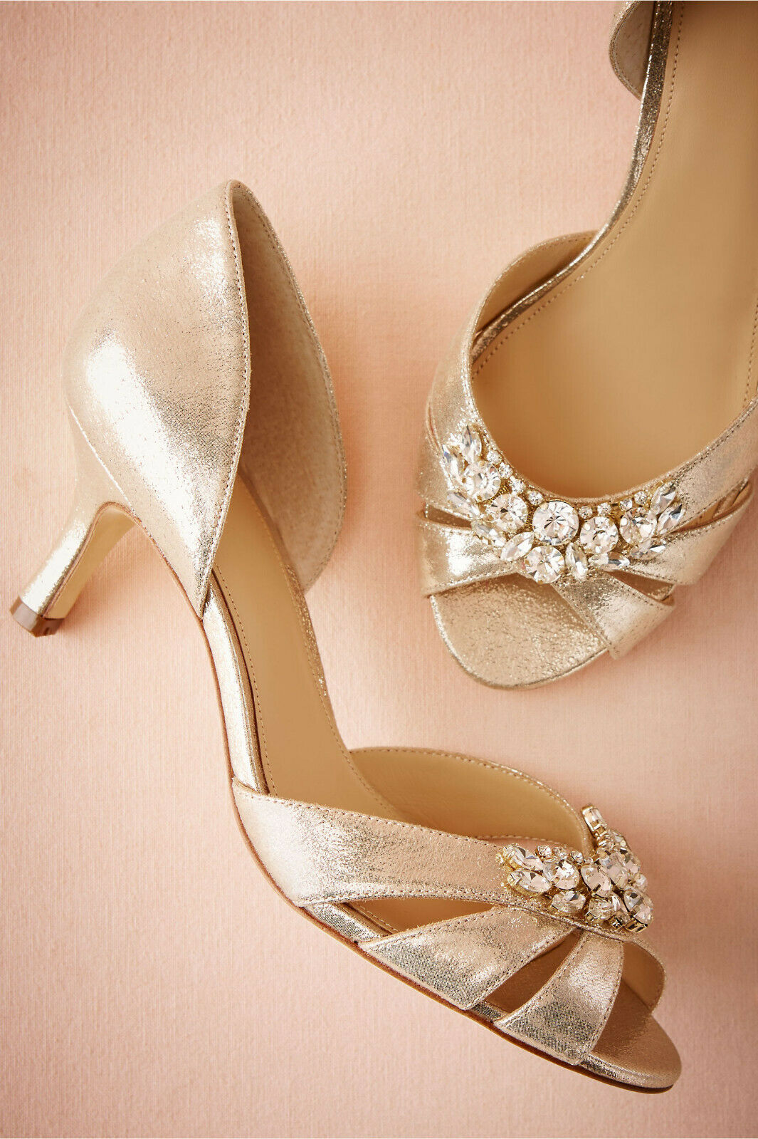 FORMAL BRIDE SHOES 6.5 BHLDN RHINESTONE gold SLIP ON KITTEN HEEL SOLDOUT 130 EUC
