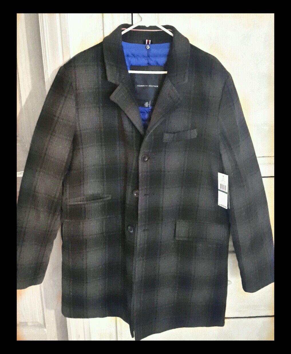 Tommy Hillfiger coat  44%wool,40% polyester,14% viscose,2% other fiber, L, Plaid