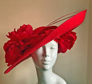 Image is loading Exclusive-Red-Designer-Millinery-by-Hat-Couture-Wedding- b78999012fb5