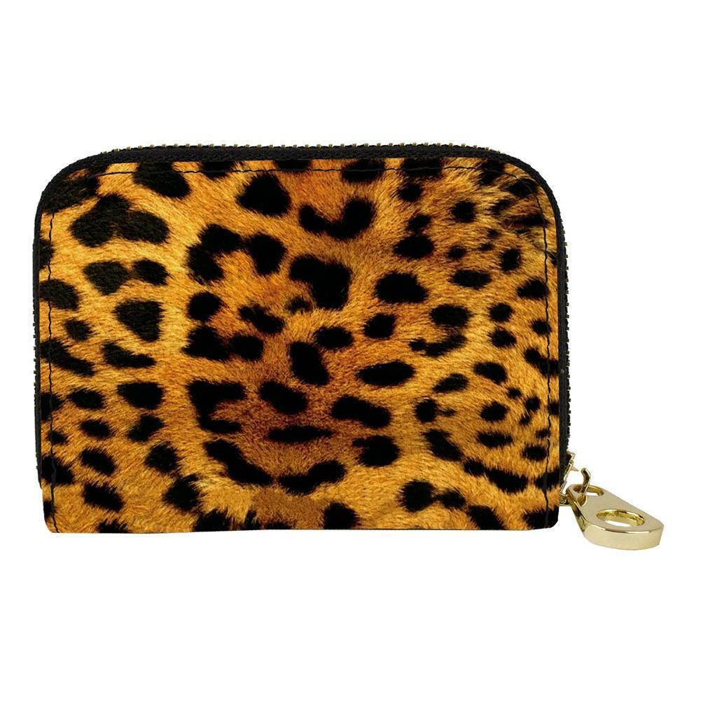 Leopard Animal Print RFID Zippered Wallet Travel Zip Around Credit Card Holder