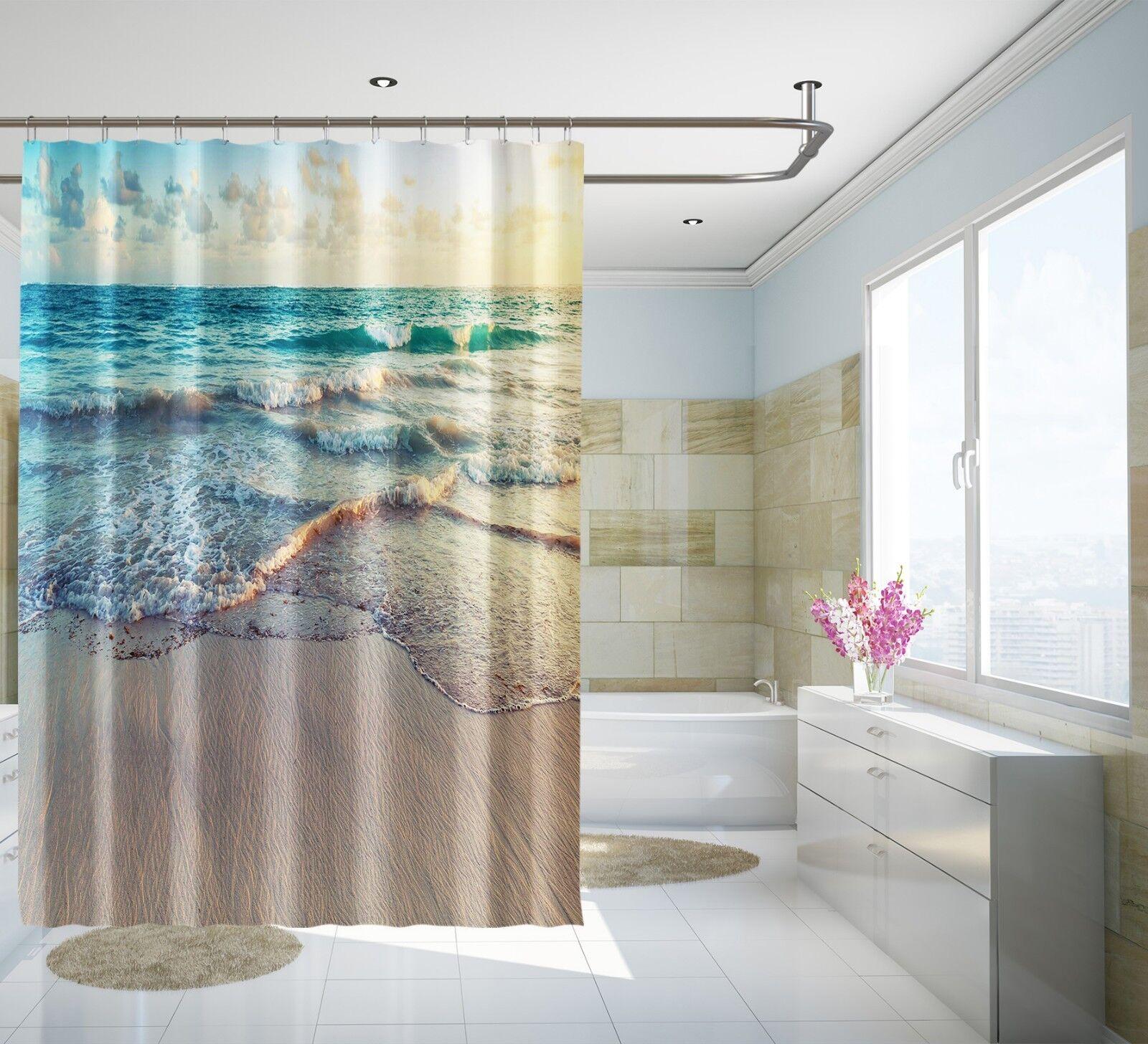 3D Beach Ocean 645 Shower Curtain Waterproof Fiber Bathroom Home Windows Toilet