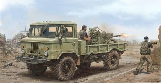 CAMION LEGER SOVIETIQUE GAZ-66 avec canon ZU-23-2 - KIT TRUMPETER 1/35 n° 01017