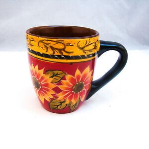 Pier-1-Imports-Hand-Painted-SUNFLOWER-Mug-s-Flakes-on-rim