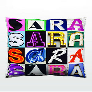 Personalized Pillowcase featuring SARA in photo of actual sign letters