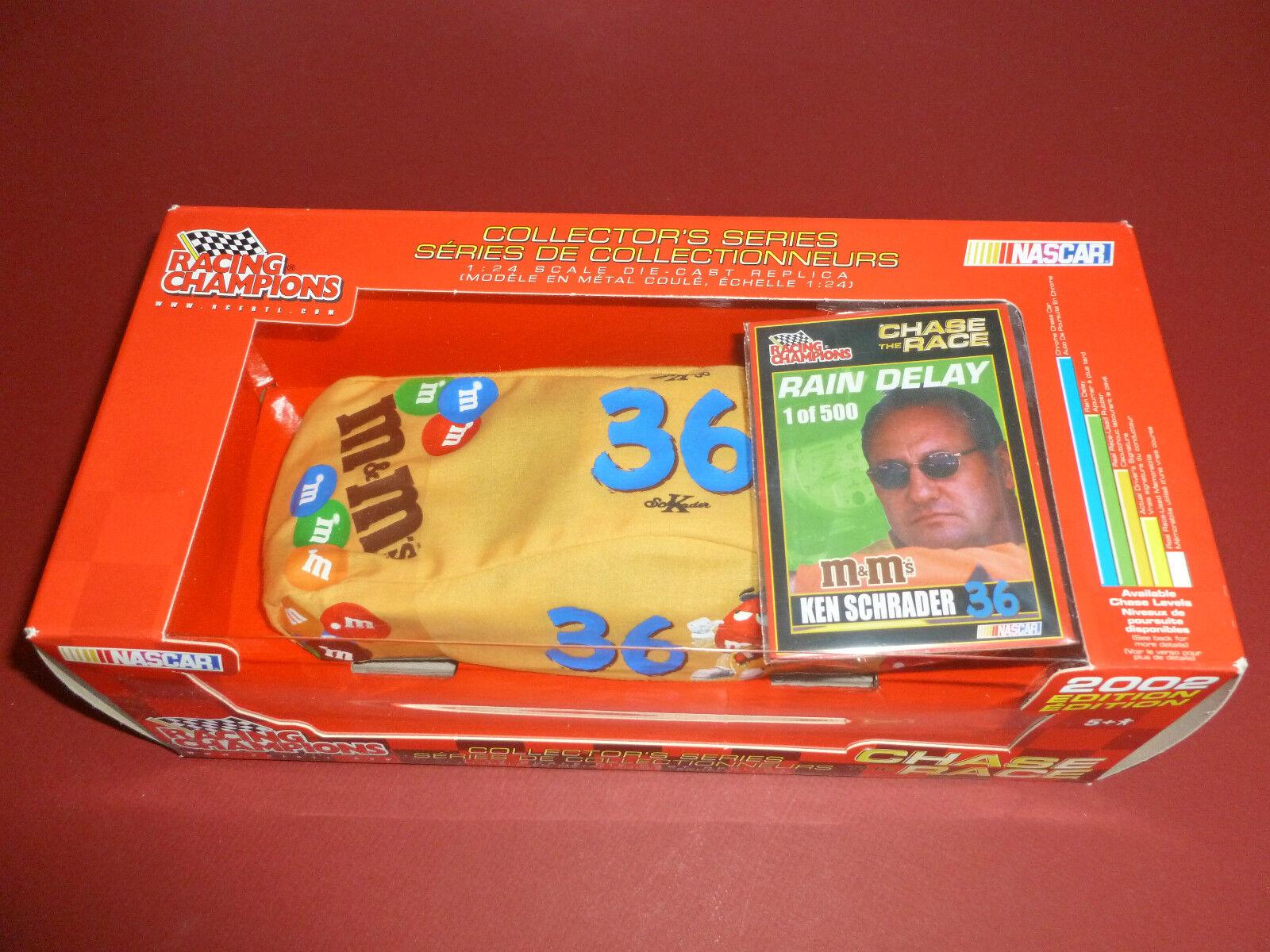 KEN SCHRADER M&M no 36 36 36 PONTIAC NASCAR DIE-CAST ERTL 1 24 2002 RAIN DELAY NEW     1f629d