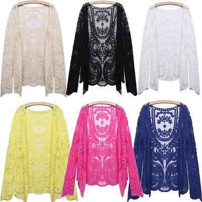Boho Damen Langarm Spitze Crochet Open Cardigan Shirt Stickerei Bolero Jacke Top
