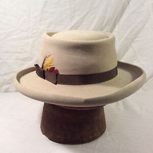 466132ee92e64 Grey Brown Stetson 4X Beaver Gun Club Hat with Brown Band -- Size 7 ...