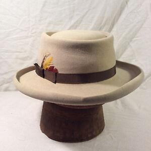 Grey Brown Stetson 4X Beaver Gun Club Hat with Brown Band -- Size 7 ... e1dee43b8420
