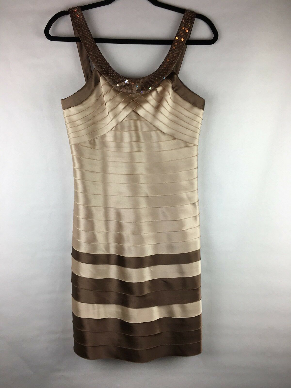 New With Tags  BCBGMaxazria Women's Size Small Dress Champagne RufflesSequin