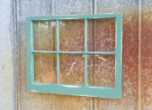 ANTIQUE TEAL GREEN DISTRESSED RUSTIC CHIPPY WINDOW SASH Architectural Salvage
