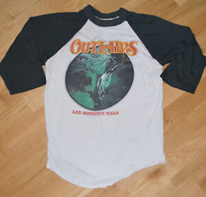 RaRe-1982-THE-OUTLAWS-vtg-concert-tour-3-4-jersey-t-shirt-S-M-80s-Rock-Band