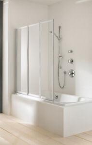 Details zu Hüppe Duschwand Badewanne * Faltwand Combinett 2 * Kunstglas *  3-teilig * silber