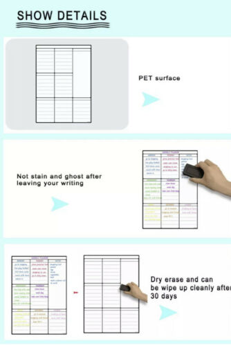 Magnetic Weekly Planner Size A3 Noticeboard Fridge Whiteboard Dry Erase 3 Pens