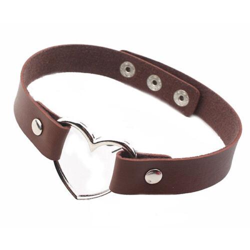 Multicolor Women Belt Metal Heart Buckle Faux Leather Punk Choker Necklace WO