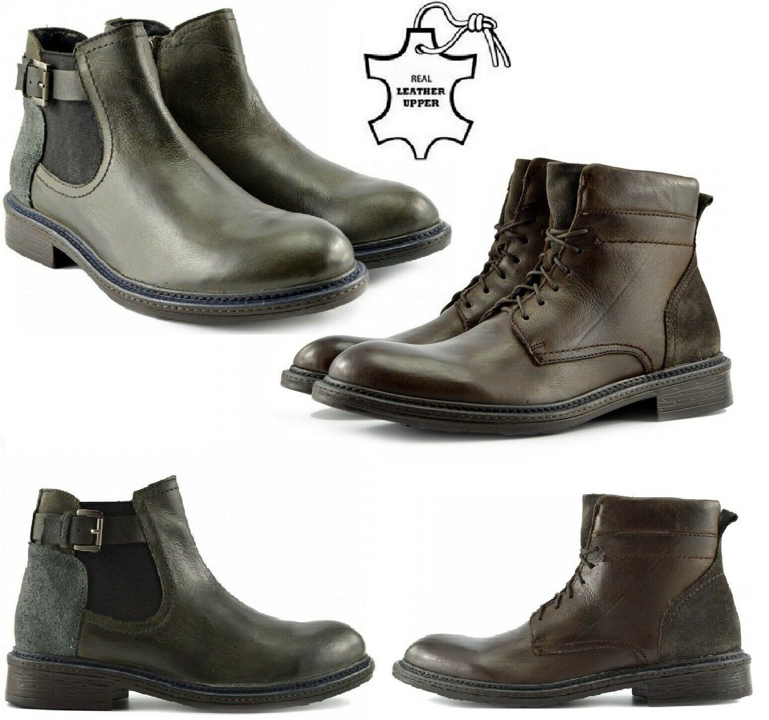 Mens Leather Ankle Boots Lace Up Zip Casual Shoes Army Combat Military Biker UK