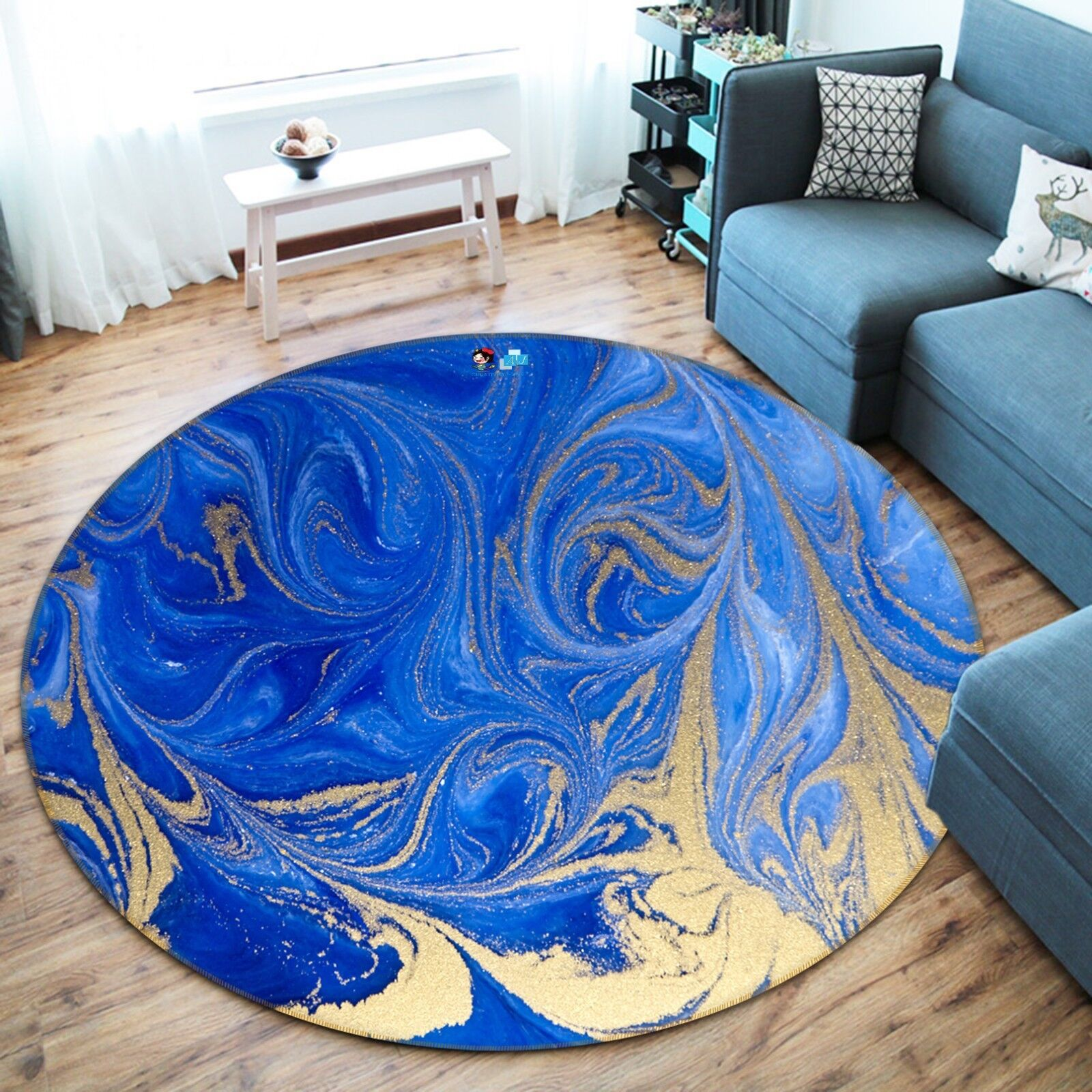3D Bright Blau Gold Gold Gold 5 Non Slip Rug Room Mat Round Quality Elegant Photo Carpet 7c593f
