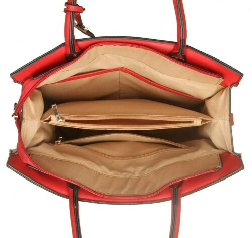 New Ladies Women Multi Compartment Handbag Office Work Organiser Shoulder Bag