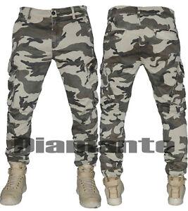 Pantalone uomo mimetico militare Cargo tasconi elasticizzato multitasche 429