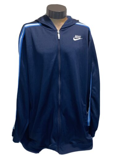 vintage 90s blue and white Nike swoosh hoodie XL … - image 1